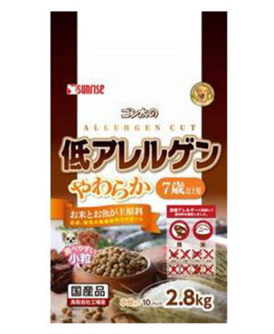 Sunrise - Gonta's Allergen Cut Hypoallergenic Soft Moist Food With Rice And Fish For Dogs 7+ Years Old (2.8kg)