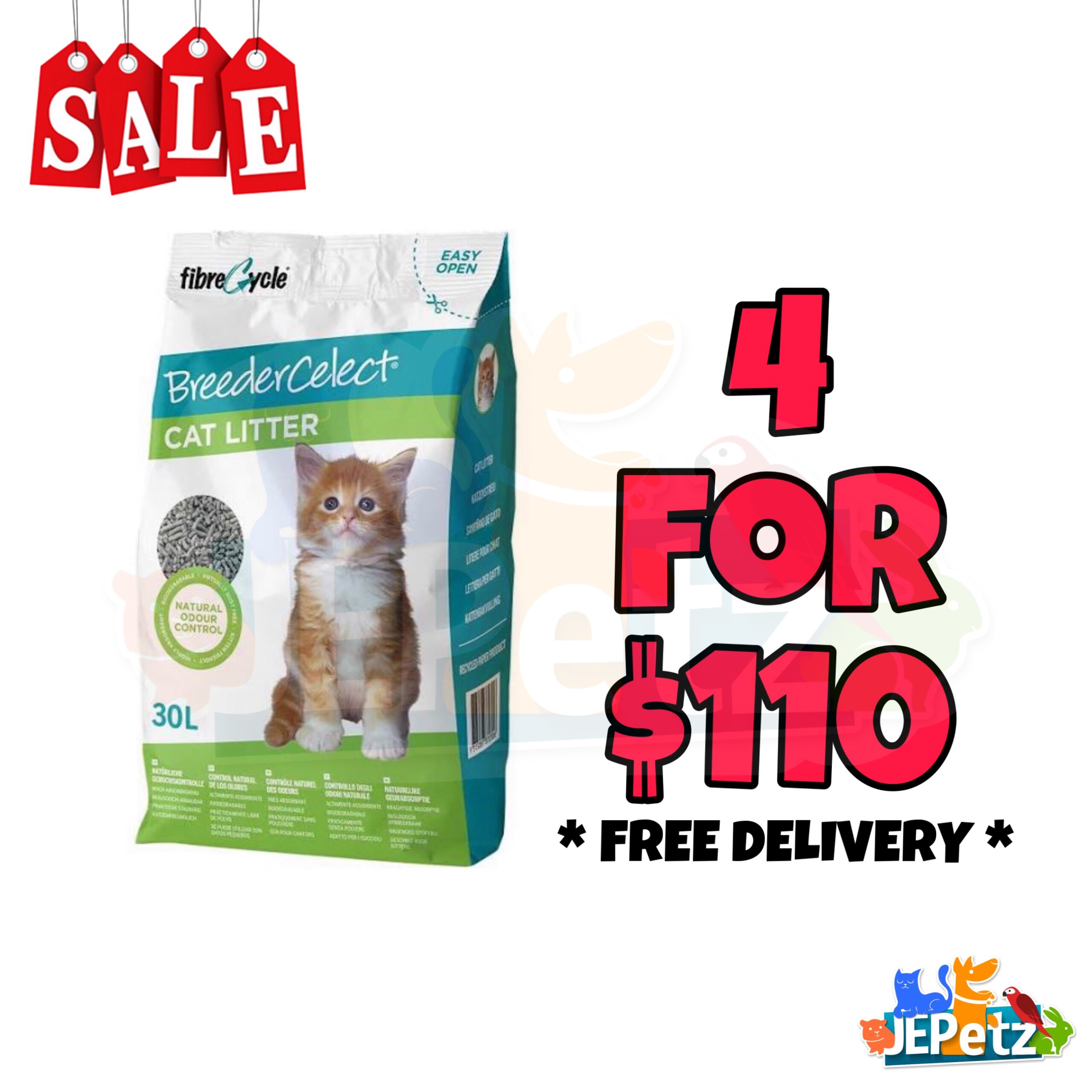Breedercelect Recycled Paper Cat Litter (30L)